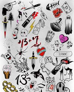 Heres a sampling of the tattoos we will have up for offer next friday for #fridaythe13th - http://ift.tt/1HQJd81