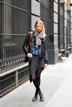Black sideways midi skirt; Leather jacket; Denim vest; Black tights + Moto boots; Colorful scarf