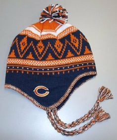 9dc310365 Reebok Chicago Bears Braided Knit Hat with Pom One Size Fits All by Reebok.   9.99