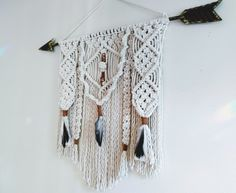 Macrame Wall Hanging w/ Rustic Metal Arrow / Suede & Feathers / Tribal Decor / Native American / Boho Decor / Wall Decor by Hamptonfoxx on Etsy Native American Bedroom, Native American Decor, Décor Boho, Bohemian Decor, Western Wall Decor, Mirror Ornaments, Small Dream Catcher, Tribal Decor, Boho Wall Hanging