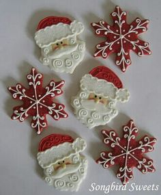 ~`santa face and snowflake cookies`~ Cute Christmas Cookies, Iced Cookies, Cute Cookies, Christmas Sweets, Christmas Cooking, Noel Christmas, Christmas Goodies, Holiday Cookies, Cupcake Cookies