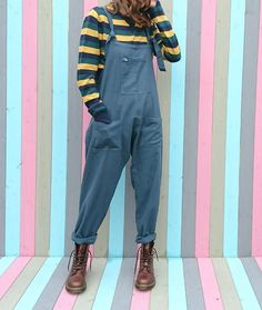 'Umi' Cotton Dungarees in Ash Blue