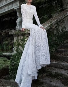 Long Sleeve Lace Wedding Dress,White/Ivory Wedding Dress,Bridal Dress,Wedding Gown Custom Made Women Wedding Dress