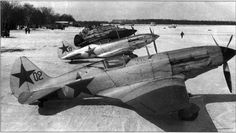 Soviet MiG-3 air defense of Moscow at the airport Vnukovo