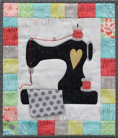 P162 Sew Vintage pattern from Patch Abilities Inc- A sweet little wall hanging that's easy for beginner quilters. Enjoy this little applique project!
