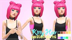 """pastel-sims: """" Kitty Hair! ♥ New Hair Mesh!!! ♥ :) (Long version is in preview pic, short version is just the regular base game bob with the two buns.) • Disabled for random. •..."""