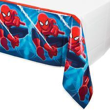 Spiderman tablecover:One Stop Kids Party Shop Birthday Party Table Decorations, Cheap Party Decorations, Birthday Party Tables, Superhero Birthday Party, Man Birthday, Plastic Table Covers, Plastic Tablecloth, Spiderman Party Supplies, Party Themes For Boys