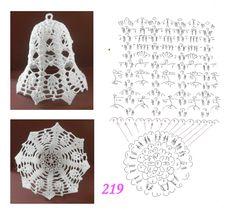 Pin by Marta Juszczyk on szydelko Crochet Christmas Ornaments, Christmas Crochet Patterns, Crochet Doily Patterns, Christmas Bells, Crochet Motif, Crochet Doilies, Crochet Angels, Crochet Stars, Thread Crochet