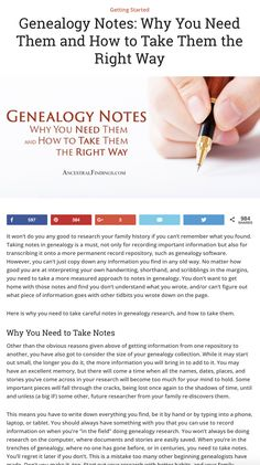 Why should you take notes in genealogy? How should they be taken to ensure accuracy in your research? Discover it all here & improve your research skills.