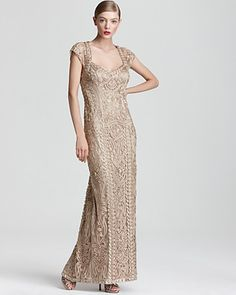 Sue Wong Lace Gown - Cap Sleeve | Bloomingdale's