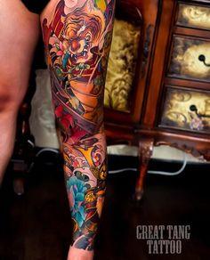 Japanese leg-sleeve tattoo by Swipe to the side to see all 4 photos! Dragon Sleeve Tattoos, Leg Sleeve Tattoo, Best Sleeve Tattoos, Chest Tattoo, Leg Tattoos, Japanese Leg Tattoo, Japanese Legs, Japanese Sleeve Tattoos, Tatuajes Irezumi