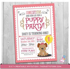 Dog themed birthday cards used the doggie pals collection part 1 puppy invitation custom printable girls puppy first birthday party invitations puppy dog pawty theme 1st one year old pink filmwisefo