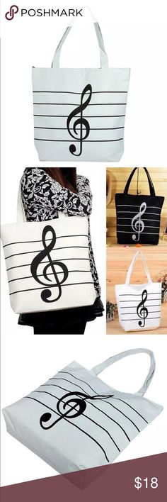 New✨Music Note Tote 😍✨✨ Primary Color: White   Material: Canvas  🔸Brand New✨ 🔸PRICE IS FIRM- already listed at lowest price  🔸If you want to save please look into bundling  🔸In Stock 🔸No Trades 🔸Will ship within 24 hours Monday-Friday 🚫Please -NO- Offers on items priced $10 and under AND ON SALE ITEMS‼️  🚫Serious Inquiries Only❣️  🔹Bundle one or more items from my boutique to only pay 1 shipping fee✨ Bags Totes
