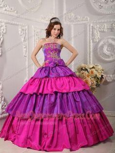 Multi-color Ball Gown Strapless Floor-length Appliques  Quinceanera Dress