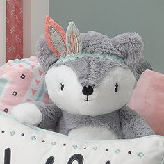 Lambs & Ivy® Little Spirit Cheyenne Fox Plush Toy in Grey