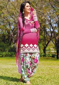 Shaded Pink Cotton Patiala Kameez Online Shopping: KWY711