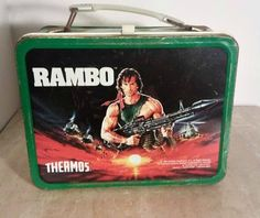 Rambo 1985 Thermos Vintage Metal Lunchbox Sylvester Stallone