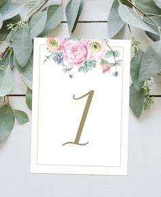 Pink Peony Watercolor Wedding Table Numbers from Casey Joan Design Etsy Store