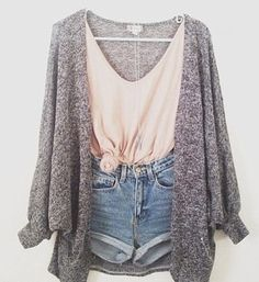 high waisted shorts, crop top, and cardigan
