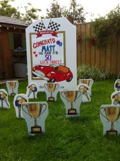 Race Car Lawn Sign Rental Serving Toronto And Area Price 95 With Full Of Ornaments Birthdaysignsca Birthday Ideas