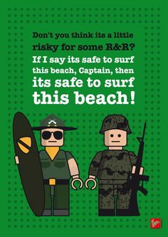 """Quote - Apocalypse now - """"Don't you think its a little risky for some R&R?..."""" - Lego dialogue poster Just making fun: my lego mini fig dialogue posters with famous movie characters. Apocalypse Now: Kilgore and captain willard Fight Club: Tyler Durden and the Narrator Rocky: Rocky Balboa and Apollo Creed Pulp Fiction: Vincent Vega and Jules Winnfield Big Lebowski: The Dude and Walter Sobchak"""