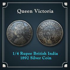 Queen Victoria    1/4 Rupee British India 1892 Silver Coin Queen Victoria    India Old Coins.