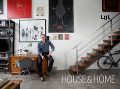 In actor Callum Keith Rennie's open living room, the art wall is the focal point. Next Bathroom, Bathroom Renos, Callum Keith Rennie, Industrial Shelving Units, Loft House, H & M Home, Living Spaces, Living Room, Traditional Bathroom
