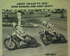 Gene Romero and Gary Scott Flat Track Motorcycle, Flat Track Racing, Motorcycle Clubs, Triumph Motorcycles, T Race, Flat Tracker, Push Bikes, Vintage Motocross, 4 Wheelers