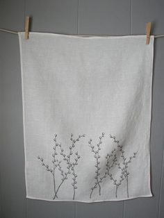 Organic Linen Tea TowelsPussy Willows Set of Two by madderroot, $34.00