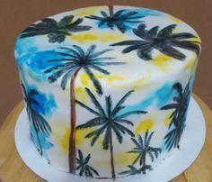Hand Painted Palm Tree Cake Palm Tree Cakes, Palm Trees, Hand Painted Cakes, Decorated Cakes, Grad Parties, Tree Designs, Cake Cookies, Cake Decorating, Sweet Tooth