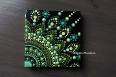 Mini 3 x 3 inch Dot Mandala on Canvas green dotted mandala