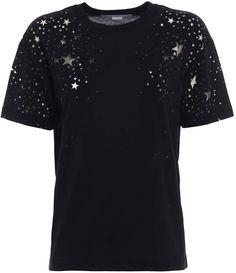 Stella McCartney T-shirt Devore Stars Versace Top, Star Cut Out, Stretch Satin, Grey Leather, Black Pumps, Stella Mccartney, Tory Burch, Stars, T Shirt