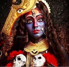Maa Kali indicates the impermanence of all things, which is why she wears a garland of skulls. Yet she is also the ultimate transforming power of time, which is to take us from death to immortality. Her magical dance of transformation is all existence. Kali Shiva, Kali Hindu, Kali Mata, Jay Maa Kali, Lord Shiva, Maa Durga Photo, Maa Durga Image, Maa Kali Images, Durga Images