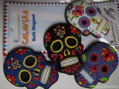calavera magnets (sugar skull)  #fridge #magnets #sugar #skull #calavera