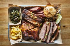 texas bbq style tray with smoked beef brisket st louis ribs chicken and hot links by JoshuaResnick Brisket Side Dishes, Brisket Sides, Meat Lovers Pizza, Southern Breakfast, Smoked Beef Brisket, Texas Bbq, Cafe Food, Yummy Food, Cooking