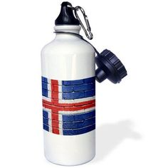 3dRose National flag of Iceland painted onto a brick wall Icelandic, Sports Water Bottle, 21oz