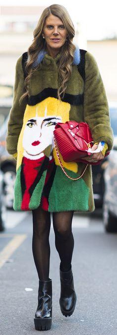 Anna Dello Russo shows off the Prada pop art face coat