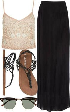 Summer outfit collection of black long skirt, top and sandals