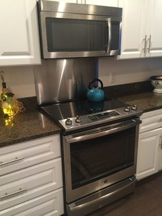 Granite Counters Tile Backsplash Behind Slide In Range