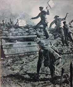 Depiction of 8th Munster Fusiliers retrieving provocative placards from German lines, 1916. - WWI covered live (@ThisDayInWWI) | Twitter