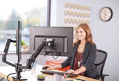 AmazonBasics Dual Side-by-Side Monitor Display Mounting Arm  Dual side-by-side monitor arm adjusts effortlessly for easy use Dual side-by-side monitor arm adjusts effortlessly for easy use Arms extend and retract, tilt to change reading angles, and rotate from landscape-to-portrait mode Dual side-by-side monitor arm adjusts effortlessly for easy use Dual side-by-side monitor arm adjusts effortlessly for easy use Arms extend and retract, tilt to change reading angles, and rotate from ..