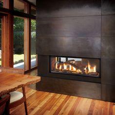 Fireplace Xtrordinair 4415 Linear See-Thru Gas Fireplace – Byler's Stove Shoppe - Modern See Through Fireplace, Tv Above Fireplace, Linear Fireplace, Wooden Fireplace, Brick Fireplace Makeover, Home Fireplace, Fireplace Inserts, Fireplace Surrounds, Fireplace Design