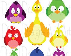 Colorful birds clipart Birds clip art Chicken by VipARTVector