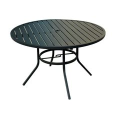 Style Selections - Pelham bay Round Outdoor Dining Table W x L with Umbrella Hole at Lowe's. Patio dining table from the Pelham bay collection accommodates 6 chairs, making it perfect for dining and entertaining.