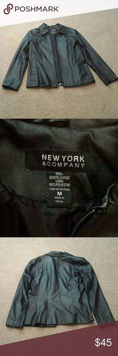 New York & Company Leather Jacket OFFERS ACCEPTED Polyester lined, genuine leather in good used condition, no holes, scratches or stains, zip up, zipper works, New York & Company Jackets & Coats
