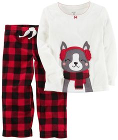 Carter s Girls 4-14 Embroidered Dog Top  amp  Buffalo Check Fleece Pants  Pajama Set 248177f49