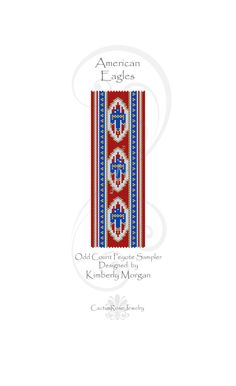American Eagles Odd Count Peyote Instant Download Pdf containing labeled color graph and row by row bead placement instruction by CactusRoseJewelry on Etsy