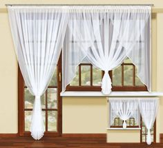 Firana z woalu 20195 Elegant Curtains, Beautiful Curtains, Sheet Curtains, Drapes Curtains, Vintage Kitchen Curtains, Victorian Bedroom, Front Rooms, Home Upgrades, Curtain Designs