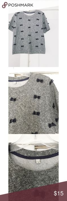J. Crew Bow Top J. Crew Bow Top.  Women's size 4.  Great condition.  Grey with blue bows. True to size. J. Crew Tops Blouses