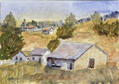 """""""Golden Meadow""""-Original Watecolor ACEO by Barry Jones"""